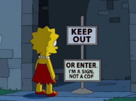 Lisa Simpson keep out sign